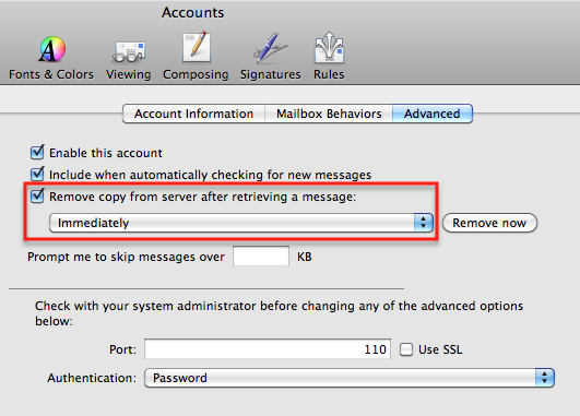 mac mail delete from server